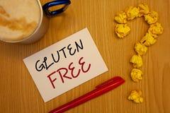 Word het schrijven Vrij tekstgluten Bedrijfsconcept voor Dieet met producten die geen ingrediënten zoals wheatIdeas op document r stock fotografie