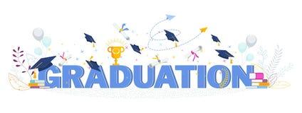 Word het vectorconcept van de graduatietypografie op witte achtergrond royalty-vrije illustratie