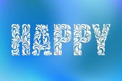 Word HEUREUX ! Police décorative avec des remous et des éléments floraux illustration stock