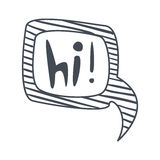 Word Hi, Hand Drawn Comic Speech Bubble Template, Isolated Black And White Hand Drawn Clipart Object Royalty Free Stock Images
