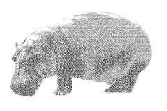 Word hippopotamus mixed to be figure of hippopotamus, with typog Stock Images