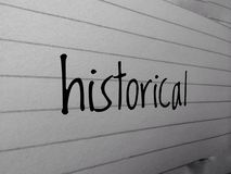 The word historical written on the page of line. Word historical written thr page line royalty free stock photos