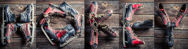 The word of hockey arranged with old skates Stock Photos