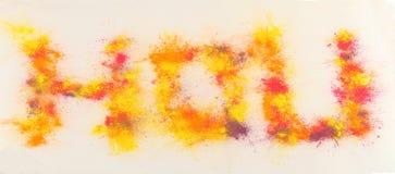 Word Holi peint par l'éclaboussure Images libres de droits