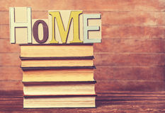 Word Home and books Royalty Free Stock Photo