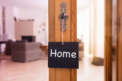 The word Home on chalkboard in front of living room Stock Photography