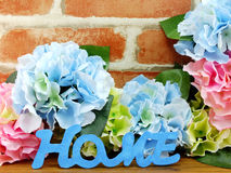 The word home letter with flowers decoration background. Word home letter with flowers decoration background stock images