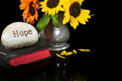 Word hope carved in stone on Bible Stock Photography