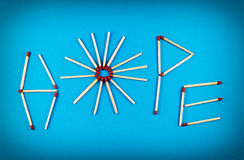 Word HOPE made of matchsticks Stock Image