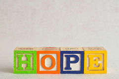 The word hope spelled with colorful blocks Royalty Free Stock Photo
