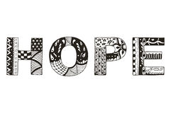 Word hope zentangle stylized, vector, illustration, freehand pen Royalty Free Stock Photography