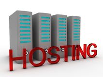Word hosting in front of data servers Royalty Free Stock Image