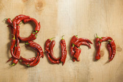 The word hot burn from chili Stock Images
