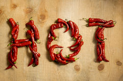 The word hot laid from chili Stock Image