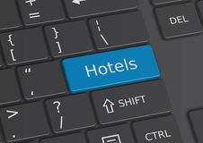 The word Hotels written on the keyboard. The word Hotels written on a blue key from the keyboard Stock Photos