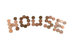 Word HOUSE made of British pennies Royalty Free Stock Image