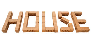 Word house mini brick_perspective Stock Photography