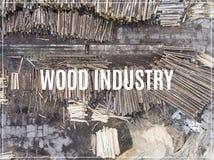 Word Houten Industrie zaagmolen Mening van hierboven Industriële backgrou stock afbeeldingen