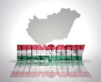 Word Hungary on a map background Stock Images