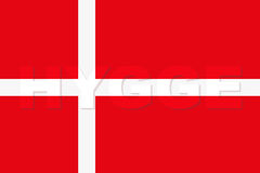 Word HYGGE on Denmark Flag. Pleasure and comfort symbol. Vector Illustration isolated on white background Royalty Free Stock Photos