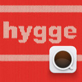 Word HYGGE on knitting texture Royalty Free Stock Photos