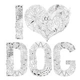 Word I LOVE DOG for coloring. Vector decorative zentangle object vector illustration