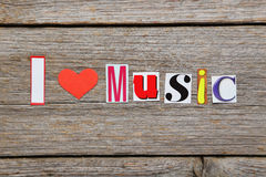 The word I love music Stock Photo