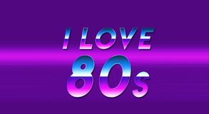 Word I love the 80s purple vaporwave wallpaper. Years 80 Royalty Free Stock Photography