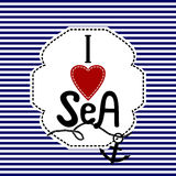Word I love sea blue and white striped background Royalty Free Stock Photography