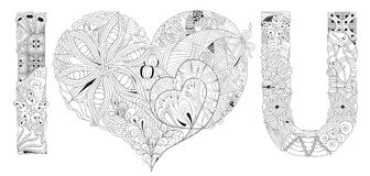 Word I LOVE YOU for coloring. Vector decorative zentangle object vector illustration