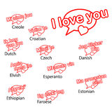Word i love you in different languages, love concept. With balloon speech stock illustration