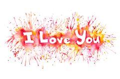 Word i love you painted watercolor Stock Photo