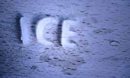 The word ICE as ice cubes Royalty Free Stock Images