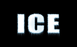 Word Ice on black background Stock Photos