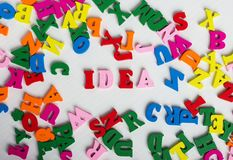 The word idea from the colorful wooden letters Royalty Free Stock Photo