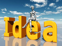 The Word Idea with Female Robot Royalty Free Stock Photography