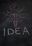 Word idea and ligh tbulb drawn with chalk on blackboard Royalty Free Stock Photos