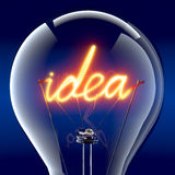 The word idea light bulb inside Stock Photography