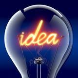 The word idea light bulb inside Stock Photography