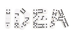 The word idea is made by domino pieces on a white background Stock Images