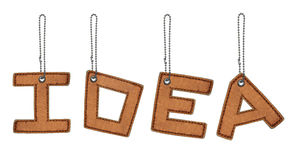 Word idea made from Leather alphabet with chain. Isolated Royalty Free Stock Image