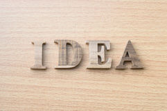 The word IDEA from wooden alphabet Stock Photography