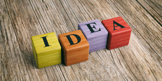 Word Idea on wooden blocks. 3d illustration royalty free illustration