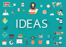 The word IDEAS with flat icons. Stock Photos