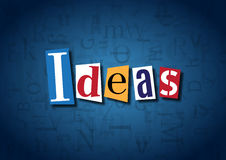 The word Ideas made from cutout letters. On a blue background Stock Photography