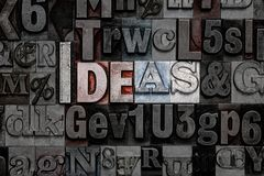 Letterpress Ideas. The word Ideas made from old metal letterpress letters Royalty Free Stock Image