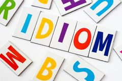 Word idiom  made of colorful letters. Word idiom made of colorful letters on white background Royalty Free Stock Photos