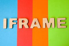 Word Iframe composed of 3D letters is in background of 4 colors: blue, red, orange and green. Iframe as html element or tag is cre royalty free stock image