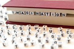Word imagination written with letters between a book pages white background with letters spread around education reading concept. Photo royalty free stock image