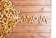 Word imagine made with wooden letters Royalty Free Stock Photos